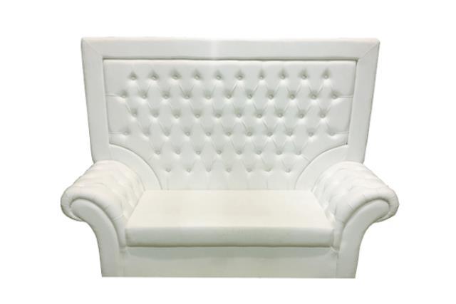 White Tufted High Back Sofa